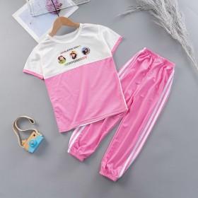 2020女童韩版休闲短袖套装儿童新款中大童洋气短袖