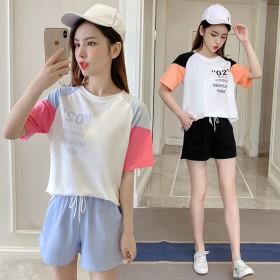 2020新款夏季韩版短袖短裤女两件套时尚休闲运动服