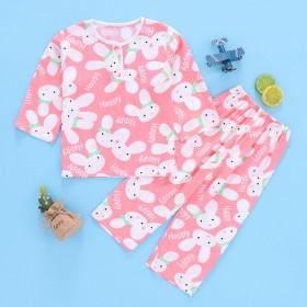 夏季儿童卡通棉绸睡衣男童女孩1-10岁宝宝薄款长袖