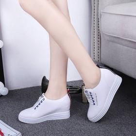 休闲鞋女内增高女鞋小白鞋透气运动鞋坡跟厚底单鞋