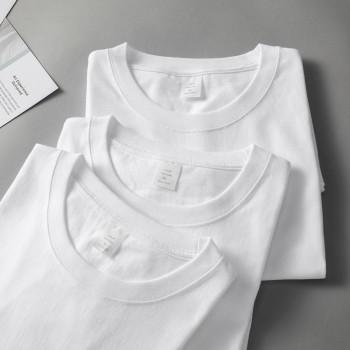 100%纯棉T恤男女情侣纯色重磅短袖
