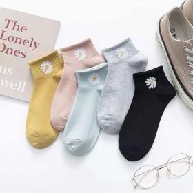 【5双】权志龙小雏菊刺绣袜子短袜