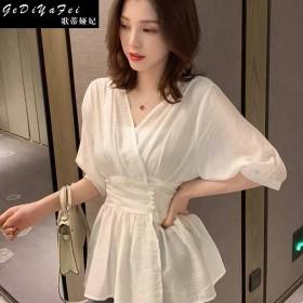 高腰上衣女夏季雪纺短袖超仙新潮网红裹胸修身显瘦韩版