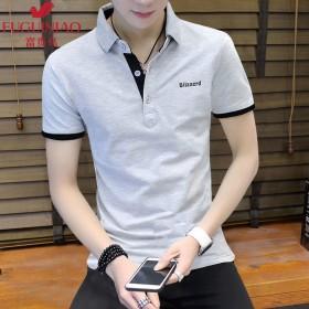 夏季男新款短袖T恤纯色韩版青年时尚修身POLO衫