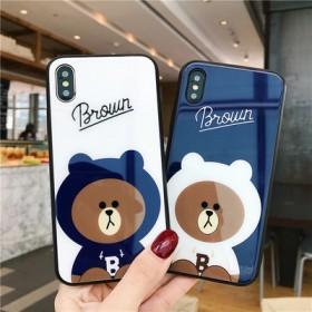 苹果X手机壳卡通玻璃小熊