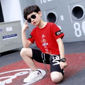 男童夏季纯棉短袖T血套装中大童新款韩版两件套潮