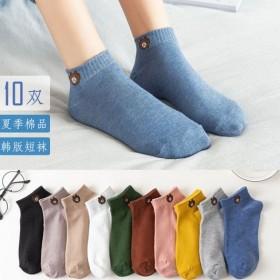 10双袜子女船袜纯棉袜春夏字母短袜