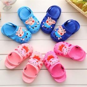 小猪佩奇儿童卡通凉拖鞋沙浴室鞋防滑软底包头1-5