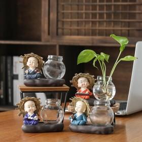 玻璃摆件迷你玻璃透明水培绿萝客厅茶几家居陶瓷花瓶