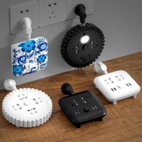 多功能插座USB插排插线板接拖线板插板带线家用一转