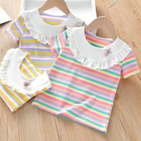 女童短袖T恤女宝宝短袖上衣木耳边条纹休闲夏季棉舒亲