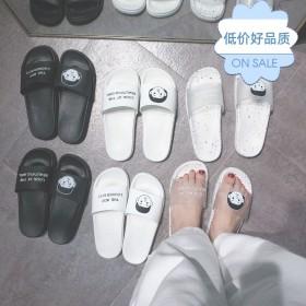 一字拖鞋女夏外穿学生韩版家用家居情侣ins社会网红