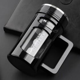 大容量玻璃杯便商务杯耐热防摔带把手办公杯男女茶杯双