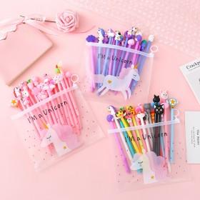 可爱粉色少女中性笔套装学生卡通签字笔组合袋装黑色0