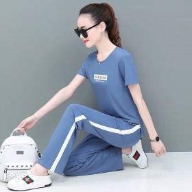 运动套装女装新款时尚短袖阔腿裤韩版大码休闲服两件套