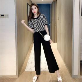 条纹冰丝短袖T恤女春夏宽松针织衫高腰阔腿裤两件套装