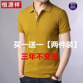 恒源祥两件装纯色短袖t恤棉男休闲爸爸夏装新款中年