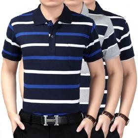 真口袋含棉50%夏季男装短袖POLO衫中老年翻领T