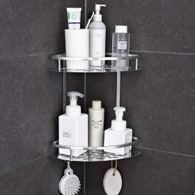 2层太空铝置物架壁挂式免打孔浴室厨房非不锈钢