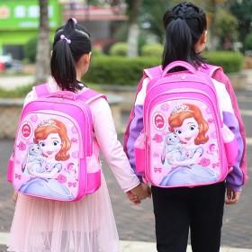 新款小学生女孩书包卡通索菲亚冰雪公主女孩减负双肩包