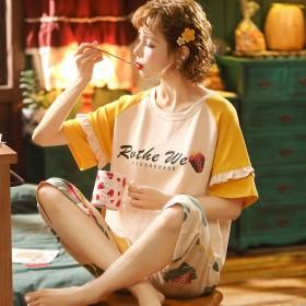 20年新夏季全棉女士短袖七分裤睡衣套装创意款纯棉女