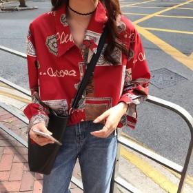 新款复古港风chic法式少女小众宽松衬衣