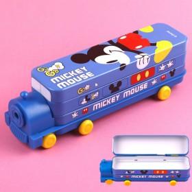 新款迪士尼火车头文具盒汽车米奇儿童多功能双层削笔机