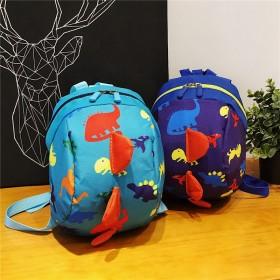 新款幼儿园儿童背包防走失卡通男女童小恐龙印小花书包