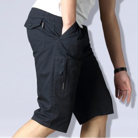 中年七分裤男宽松大码爸爸装外穿夏季纯棉休闲中裤子中
