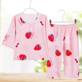 童装夏儿童棉绸睡衣睡裤绵绸套装宝宝家居服空调服