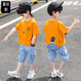 套装男童夏装套装儿童男夏中大童短袖两件套牛仔裤