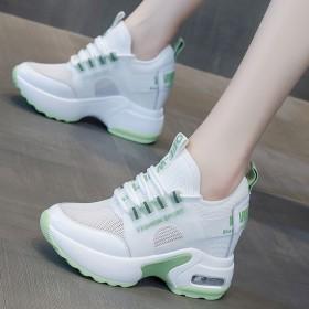 网面老爹鞋女内增高网鞋百搭透气运动休闲小白鞋