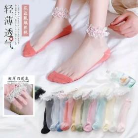 网红袜子女夏季薄款蕾丝花边袜棉袜卡丝船袜玻璃丝抖音
