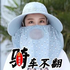 防晒帽子女夏面罩遮脸太阳帽大沿百搭凉帽紫外线采茶骑