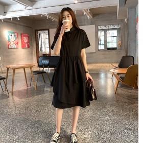 连衣裙女时尚宽松短袖不规则休闲裙子韩版中长裙A字裙
