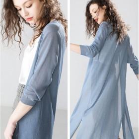 中长款冰丝针织开衫女薄外套宽松大码镂空毛衣防晒空调
