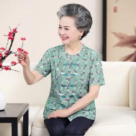 奶奶装春装衬衫中老年人女装七分袖60-70岁衬衣老