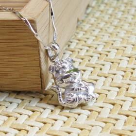 小老虎纯银吊坠(含银链)