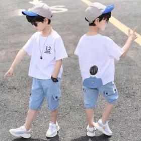 童装男童夏装套装 夏中大童短袖两件套牛仔裤