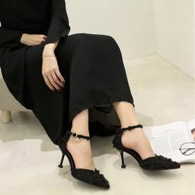 韩版包头高跟鞋女2020夏季新款百搭性感尖头中空细