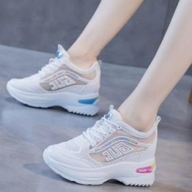 网面内增高小白鞋女新款透气网鞋厚底运动休闲老爹鞋