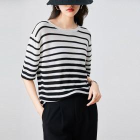 短袖冰丝条纹T恤针织衫女上衣大码打底薄防晒空调衫