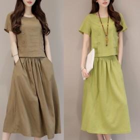 套装中长款文艺复古棉质连衣裙子夏季新款仿棉麻套装两