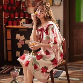 睡衣女夏睡裙女夏新款韩版可爱学生半袖长款大码少女孕