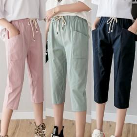 棉麻七分裤女裤夏季新款中高腰薄款运动裤女