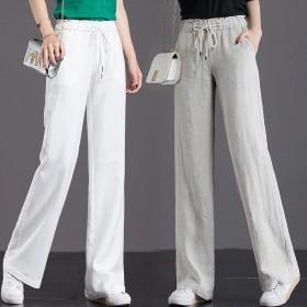 纯棉阔腿裤女春夏季新款直筒裤高腰宽松显瘦坠感长裤休