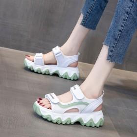 夏季新款百搭透气网红女鞋厚底松糕休闲运动鞋