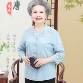 妈妈纯棉衬衫中老年人夏装女装短袖奶奶老人衣服上衣