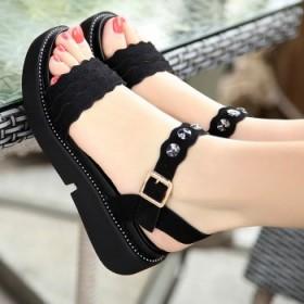 新款亮钻平跟凉鞋休闲女凉鞋厚底防滑坡跟凉鞋