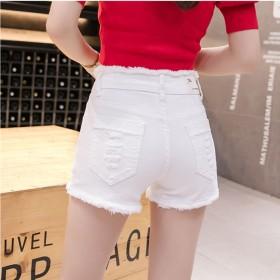 高弹夏款中腰紧身弹力牛仔短裤女白色热裤毛边破洞黑色